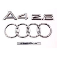 Trunk Emblems Badges A4 2.8 V6 96-02 Audi A4 B5 - Genuine