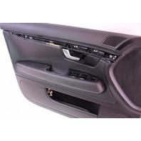 LH Driver Front Interior Door Panel 05-08 Audi A4 S4 B7 Black Leather - Genuine