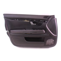 LH Driver Front Interior Door Panel 05-08 Audi A4 S4 B7 Black Leather - Genuine