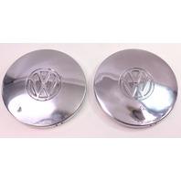 2x Chrome Steel Wheel Center Hub Cap Hubcaps 75-84 VW Rabbit Jetta Pickup MK1