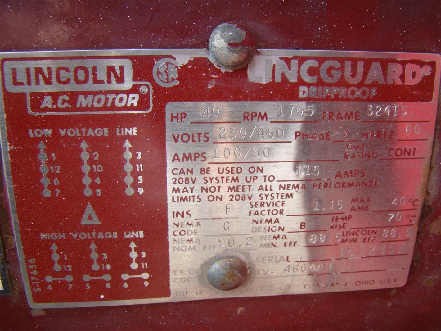 Portable LeROI Compressor with Lincoln AC Motor 40HP 1765 4166X838 W400SSA