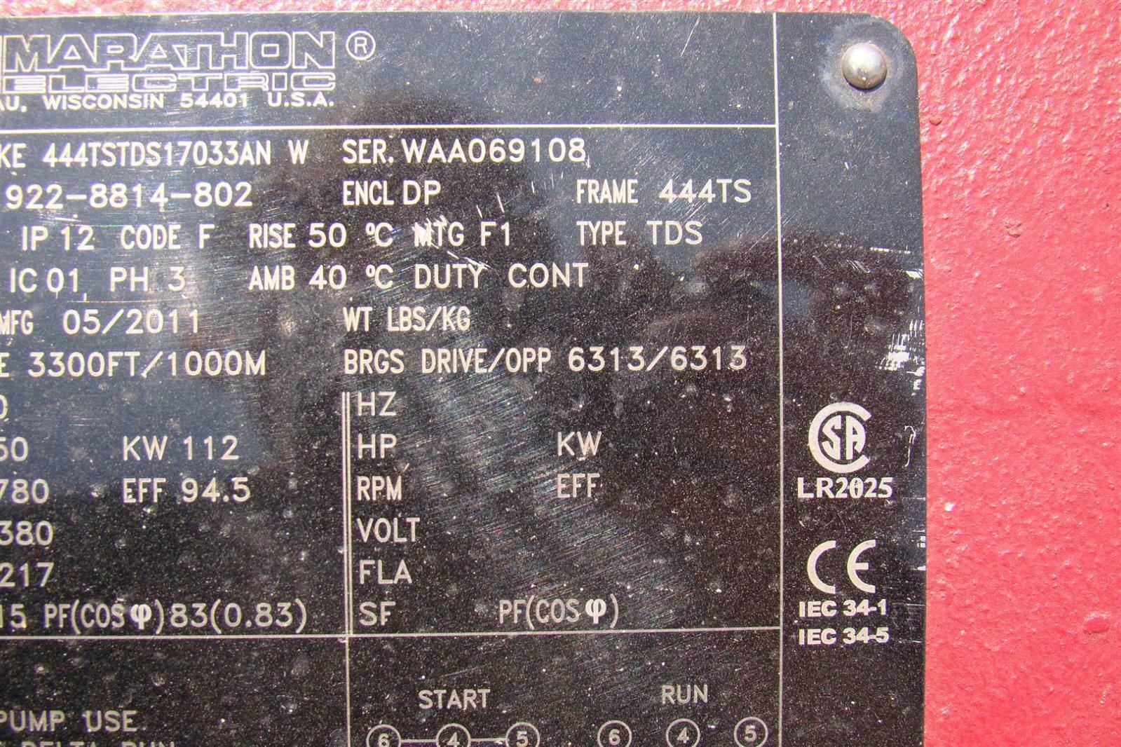 Marathon Electric Motor 150HP 380v 3PH 1780RPM KE444TSTDS17033AN 922 ...