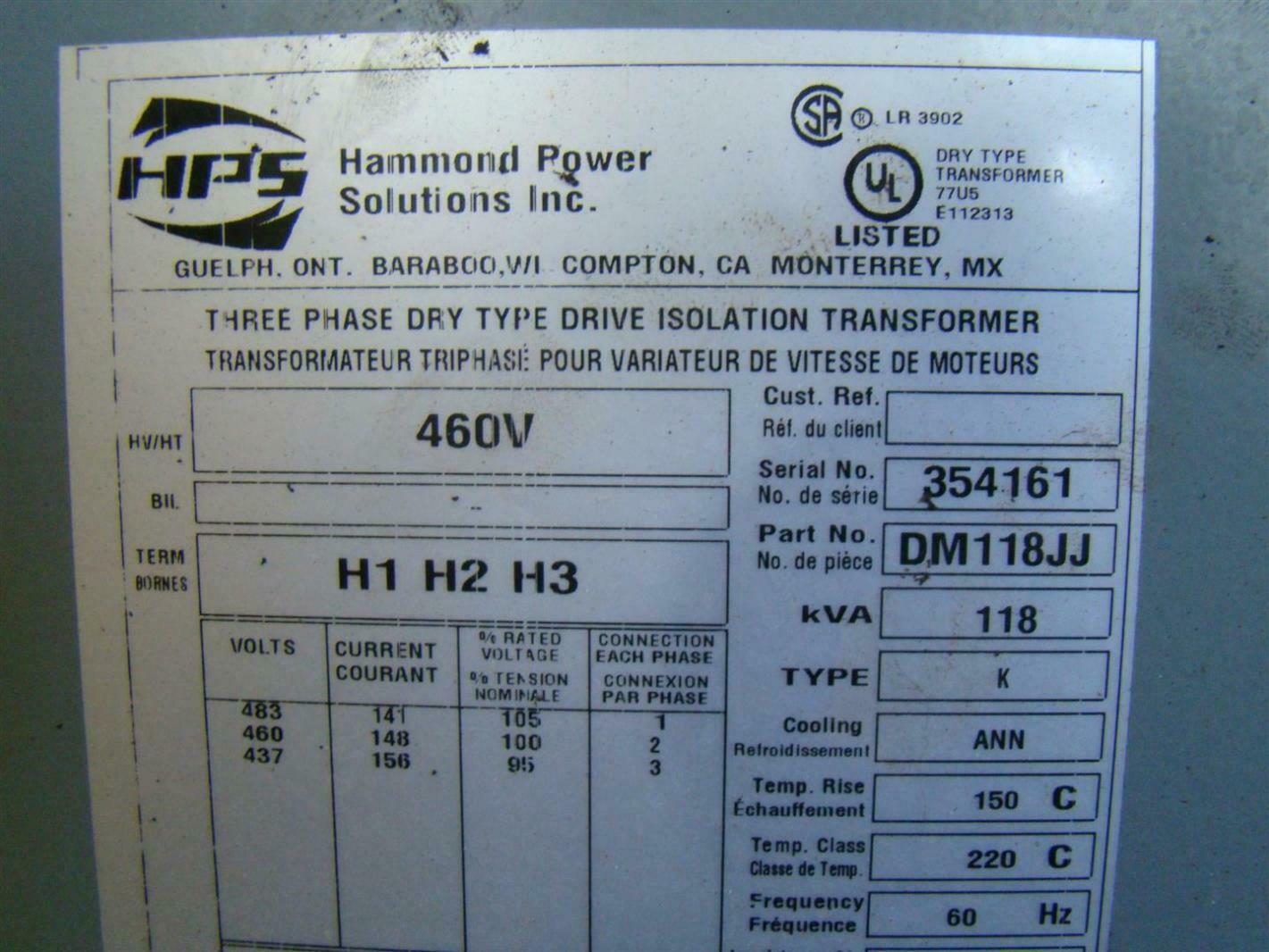 Wiring A 3 Phase Isolation Transformer Diagram Sample Hps Dry Kva 118 60 Hz 460 V Class Diagrams