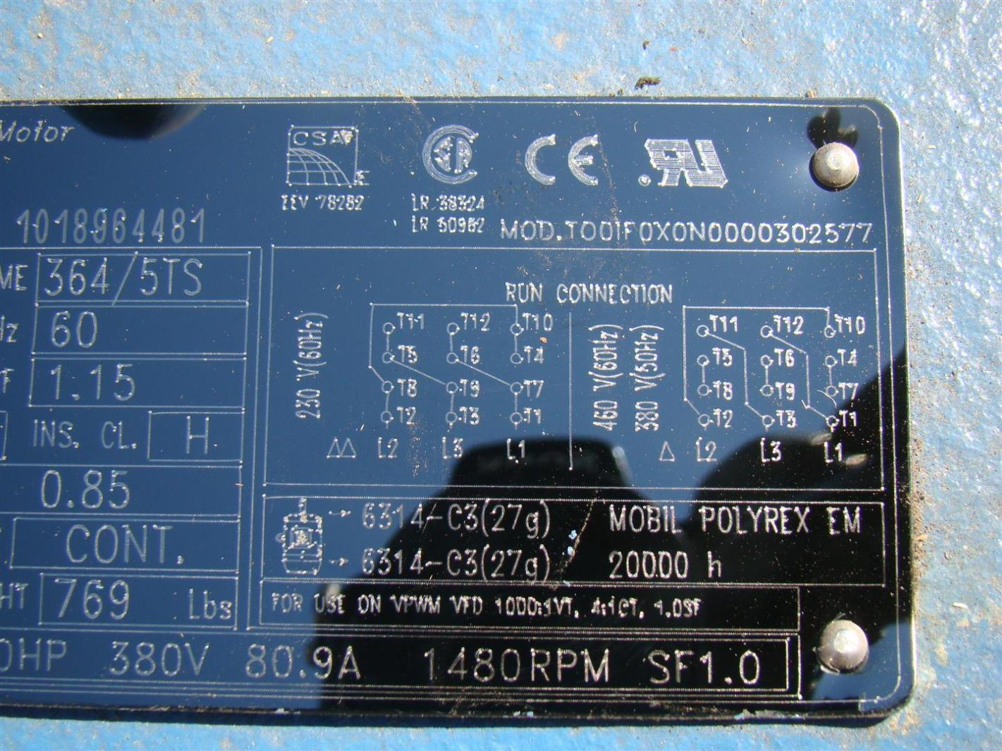 WEG 3 Phase Electric Motor 60 HP 1780 RPM 230/460V Model ...