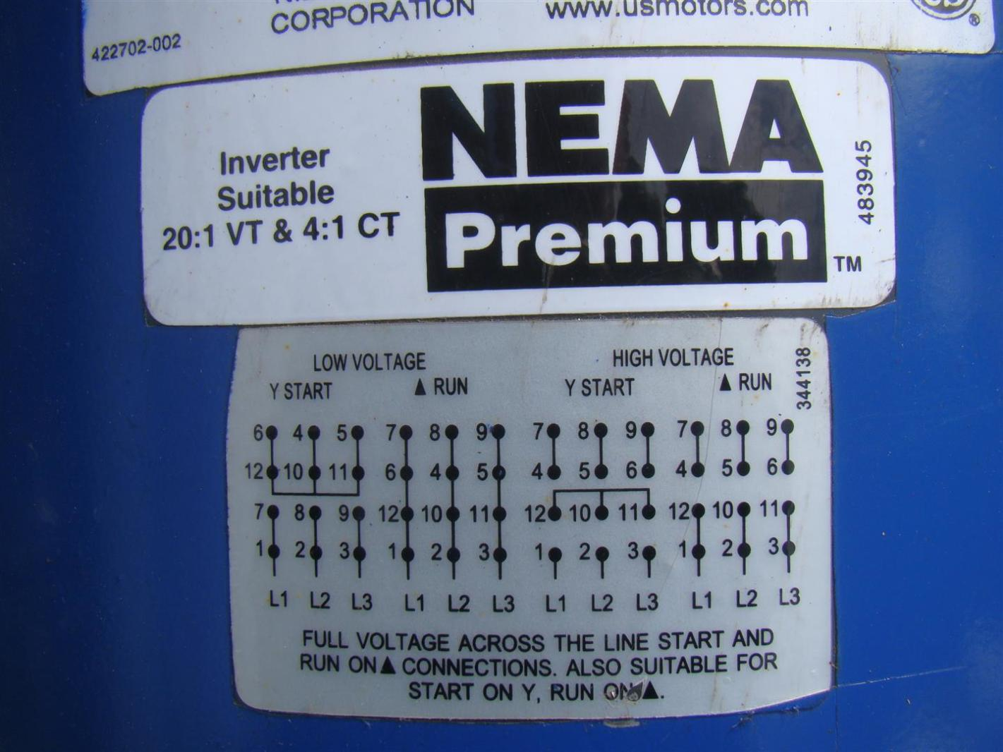 US Motors Nidec 3 Phase Electric Motor 20 HP Inverter Duty 1775 RPM ...