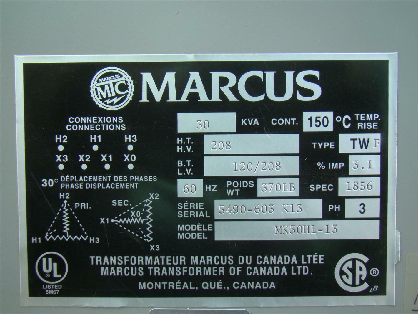Marcus 3 Phase Transformer 208 x120/208 Volt 30 KVA MK30H1-13 ...