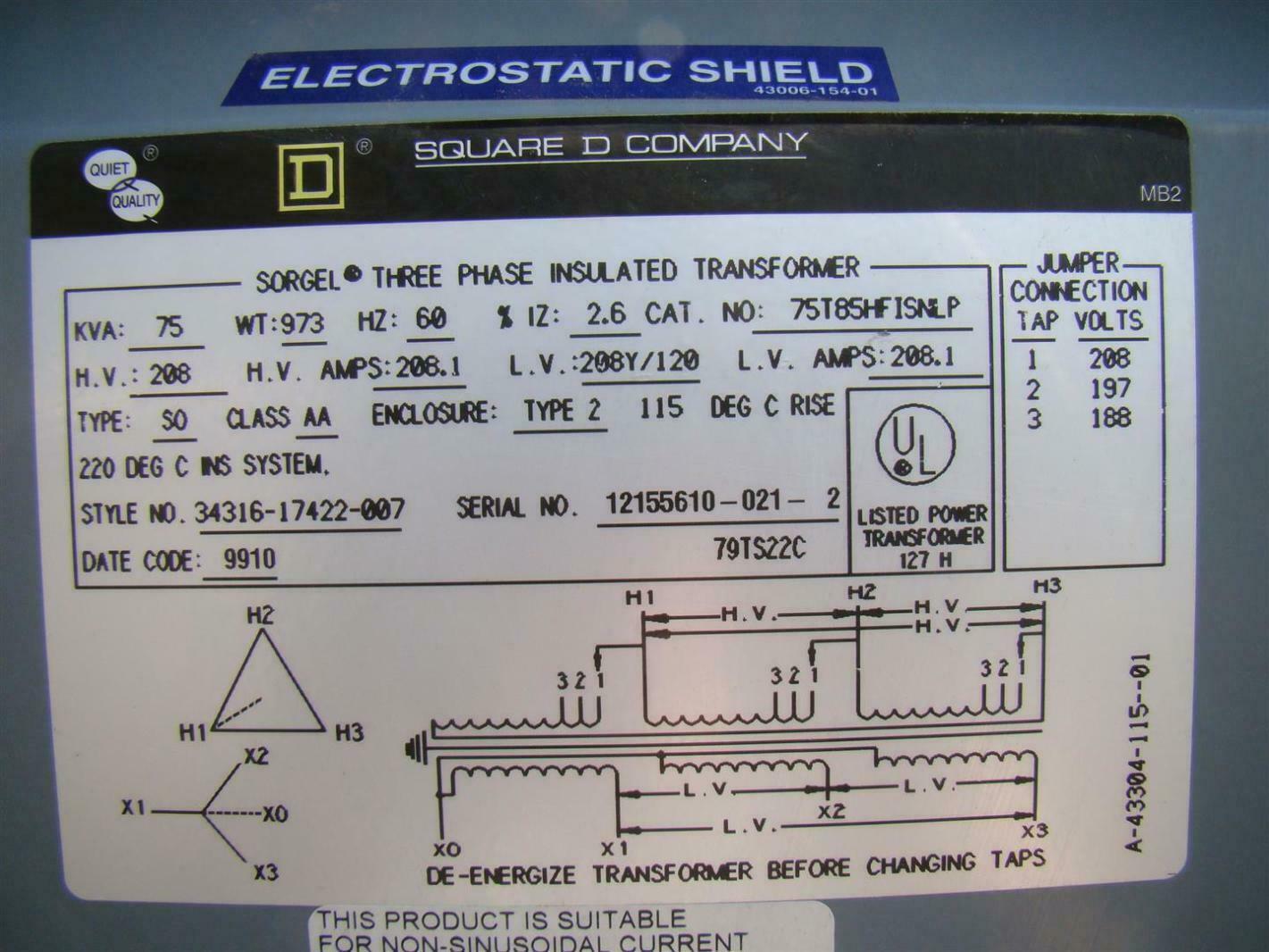 Square D 3 Phase Transformer 208 x 208Y/120 Volt 75 KVA ...