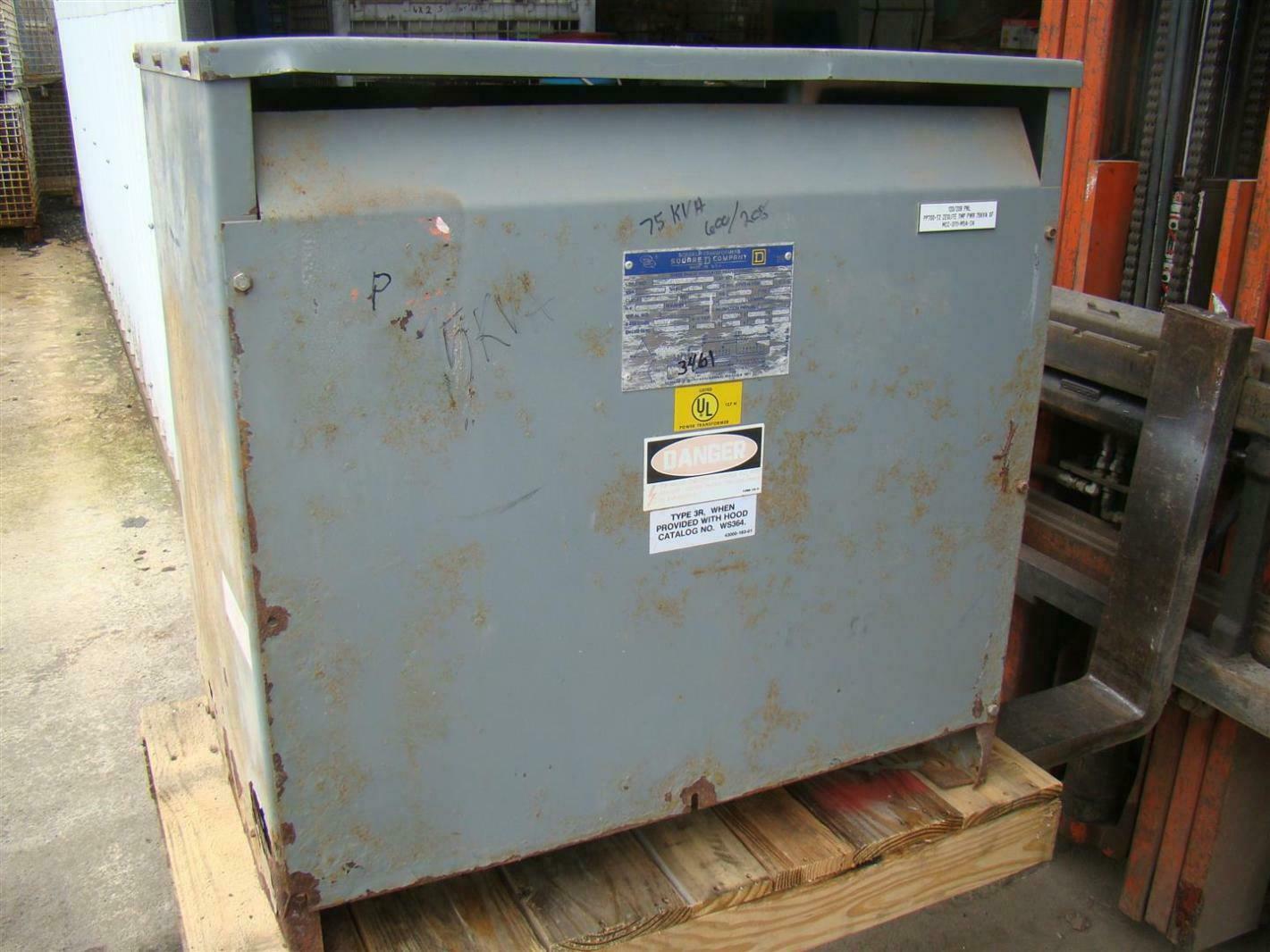 Details About Square D 3 Phase 75 KVA Transformer 600x208Y 120 Volt 75T8H 34360 17312 010