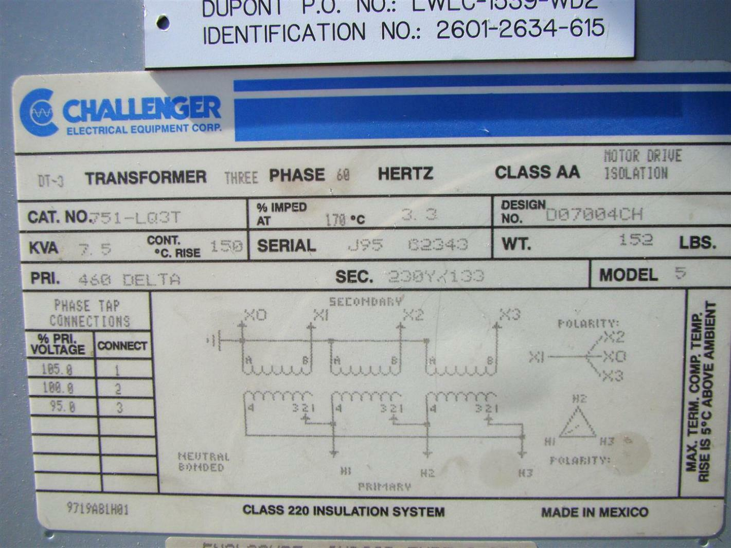 Challenger 7 5kva DT-3 phase Transformer 460x230v 60Hz | 751-LQ3T