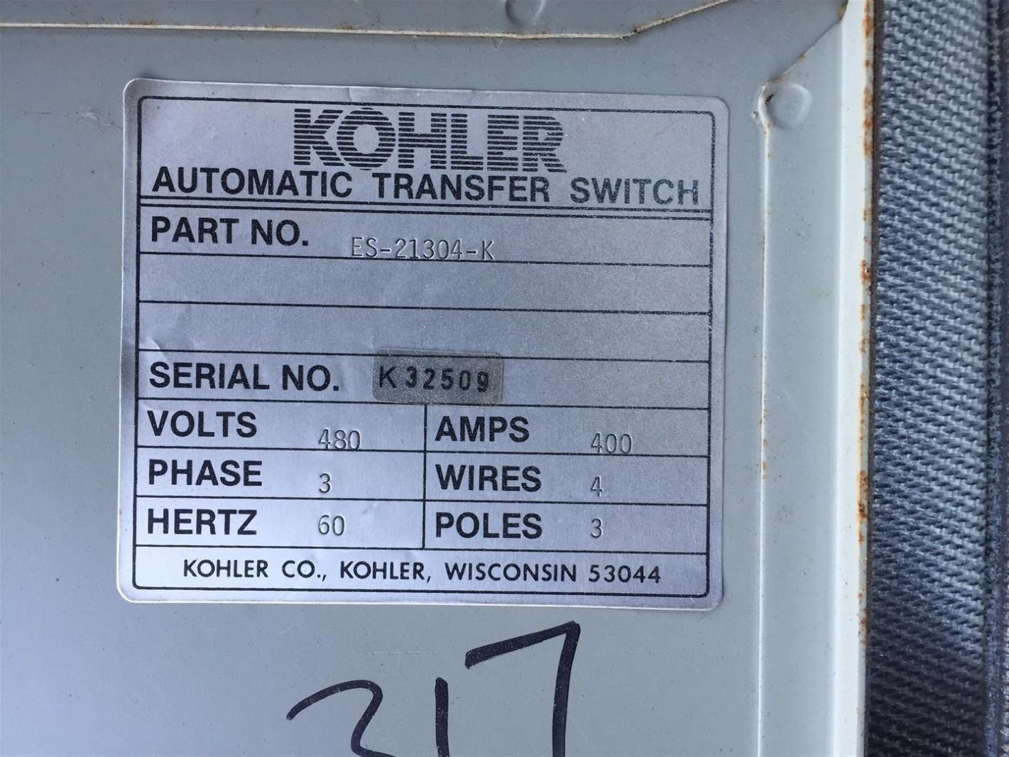 Kohler 400 Amp Automatic Transfer Switch 480v 3ph 60hz K32509 Ebay On 3 Phase Wiring