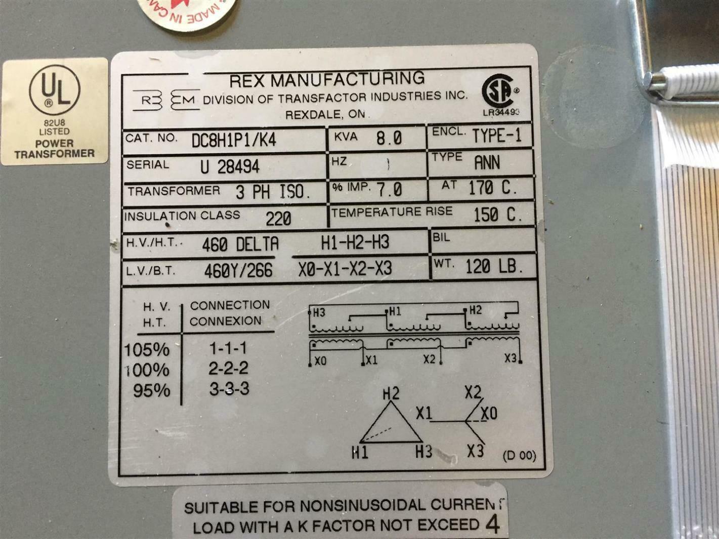 rex manufacturing transformer wiring diagram wiring diagram libraries rex wiring diagram wiring libraryrex power 8kva 460v 3ph 60hz isolation transformer