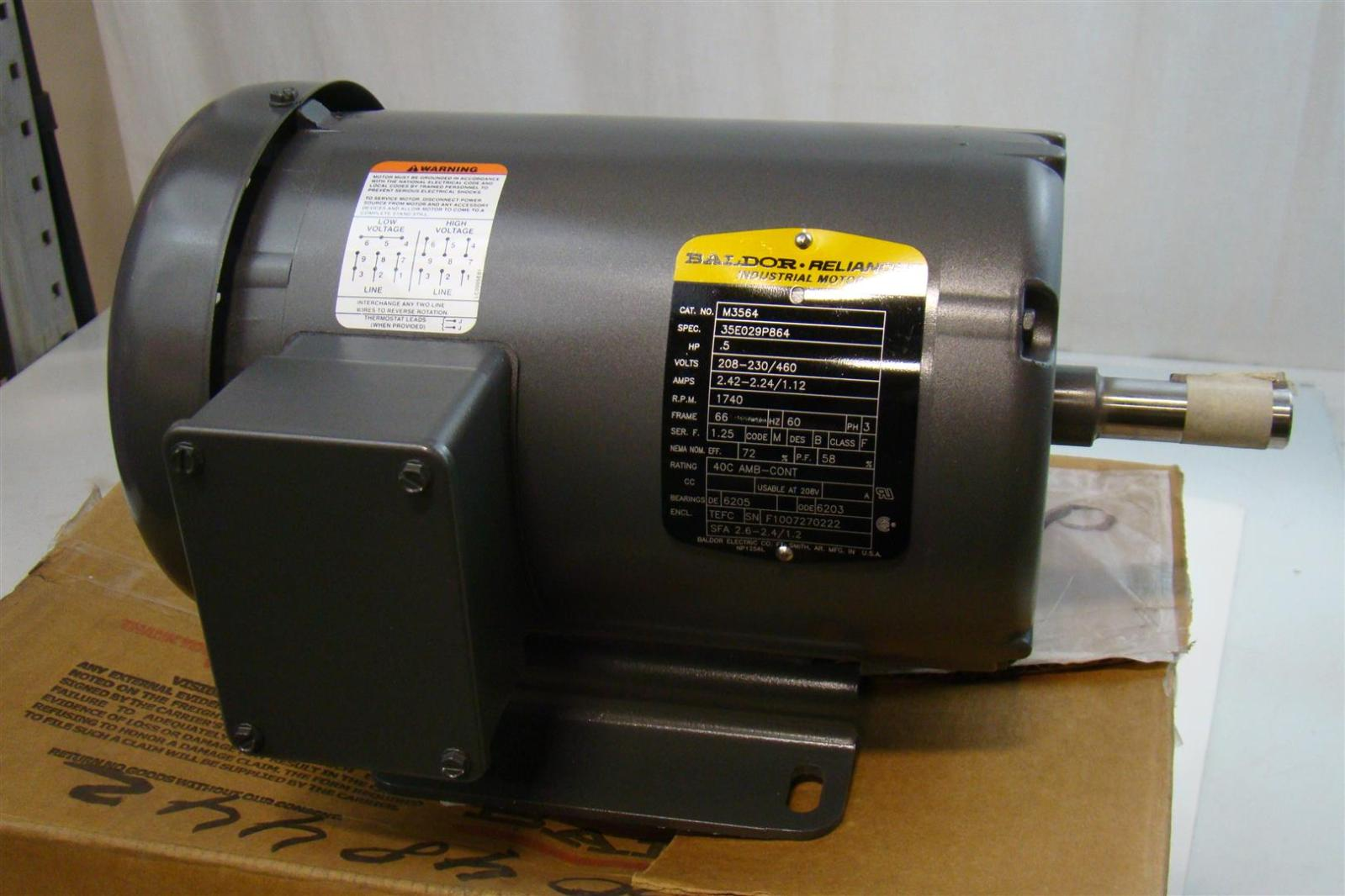 Baldor Electric Co  Industrial Electric Motor 208-230/460v  242-2 24/1 12AMPS  17