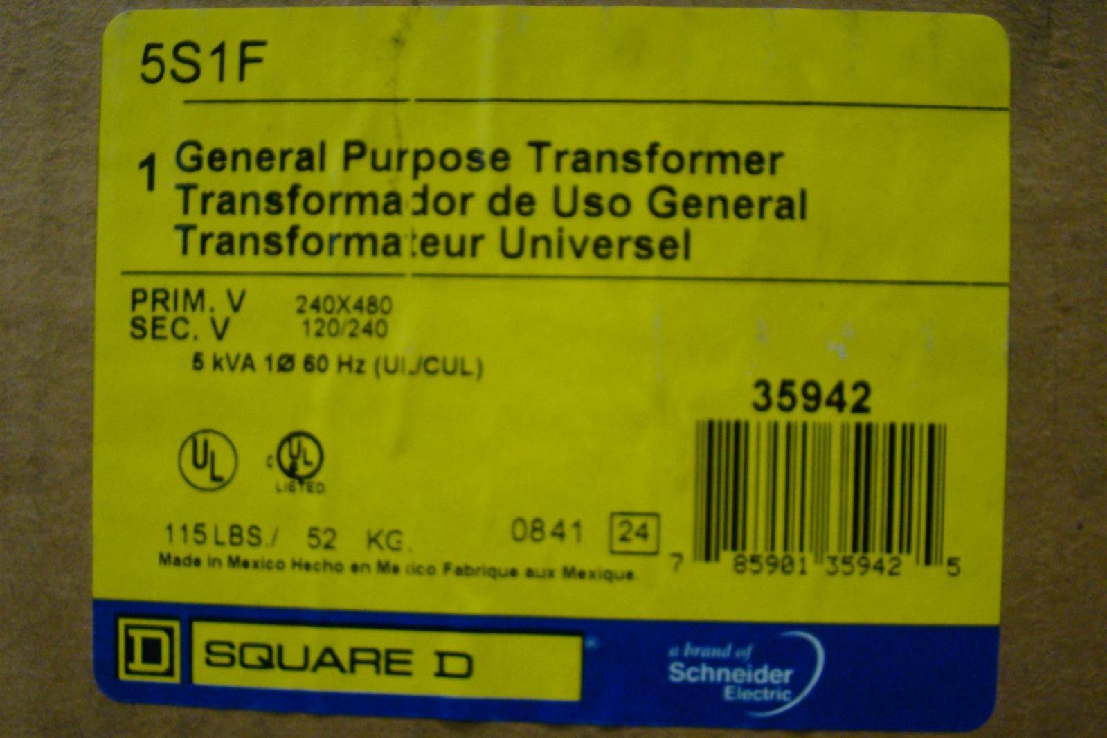 Square D 5 KVA Transformer PH1 480/240 x 240/120 5S1F