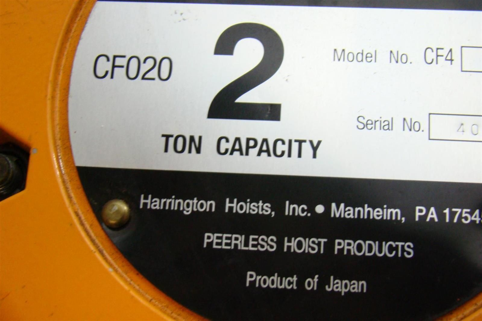 Harrington 2ton Capacity Chain Hoist Cf4 171 Joseph