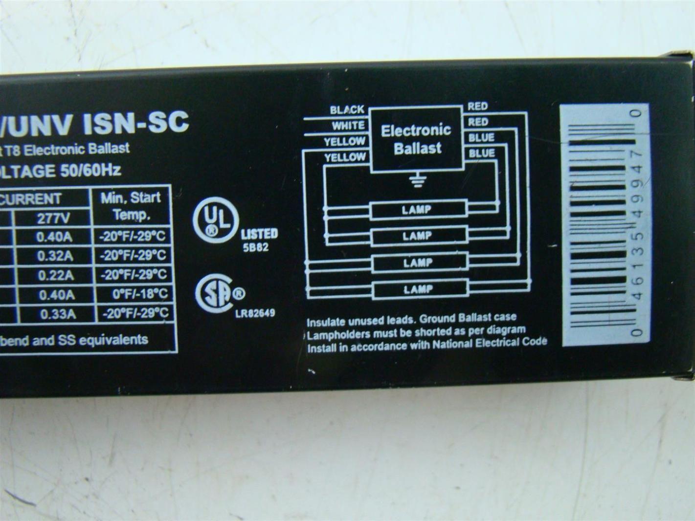 Sylvania Quicktronict8 Ballast 120-277V QTP 4x32T8/UNV ISN-SC on