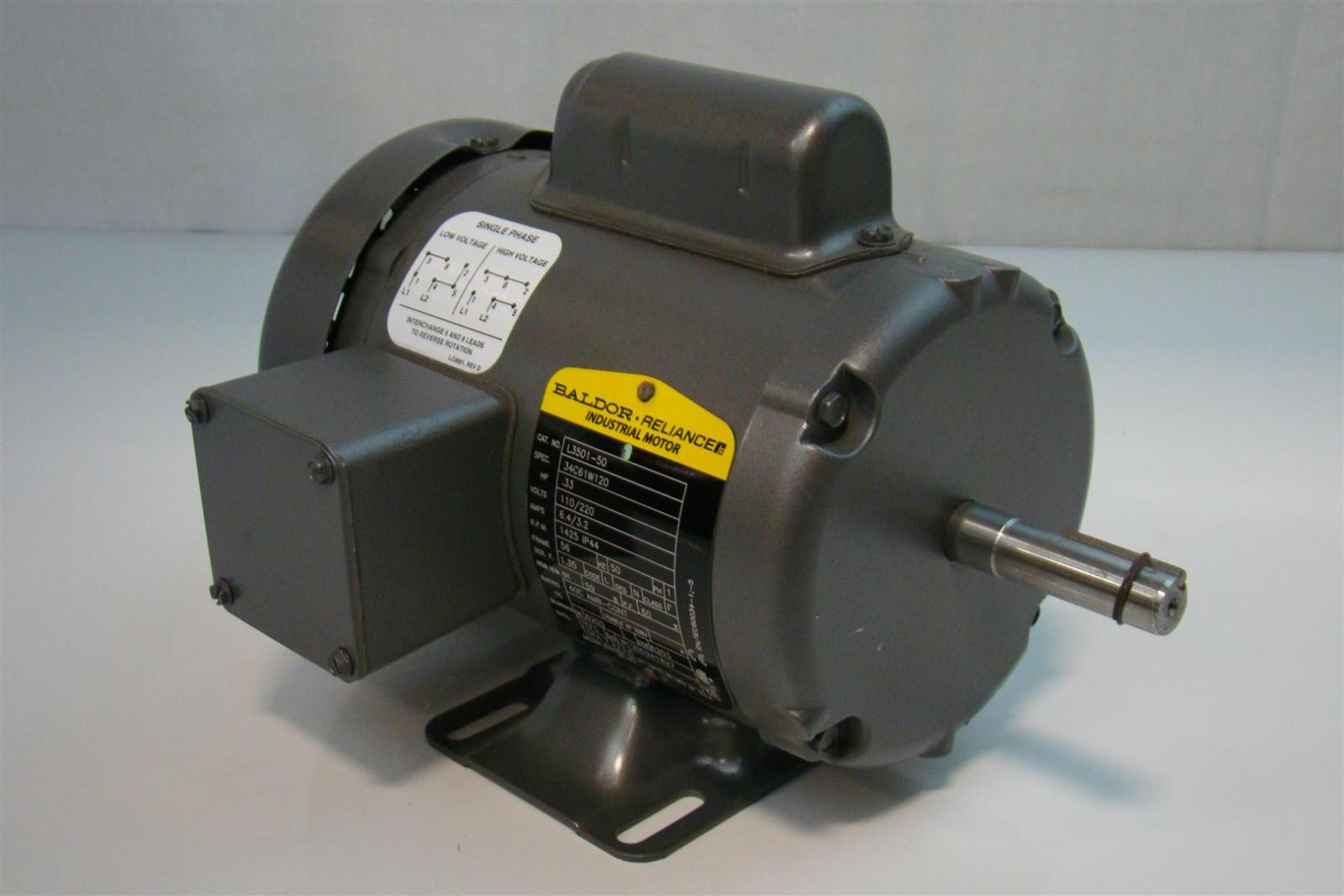 Baldor 1 3hp Motor 110 220v Single Phase 1425rpm L3501 50
