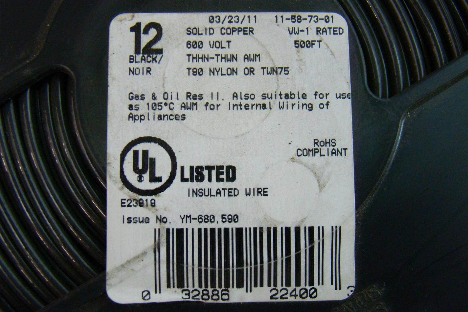 12 Solid Copper 500FT Black T90 Nylon or TWN75 YM-680,590 Insulated ...