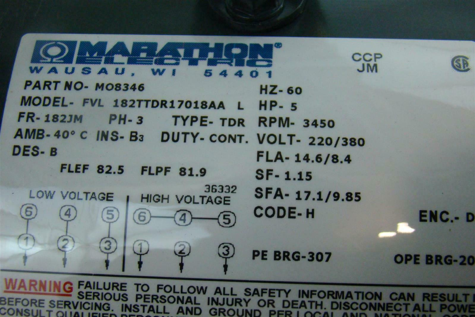 Marathon Electric Motor 5HP RPM 3450 220/380V PH3 FVL 182TTDR17018 ...