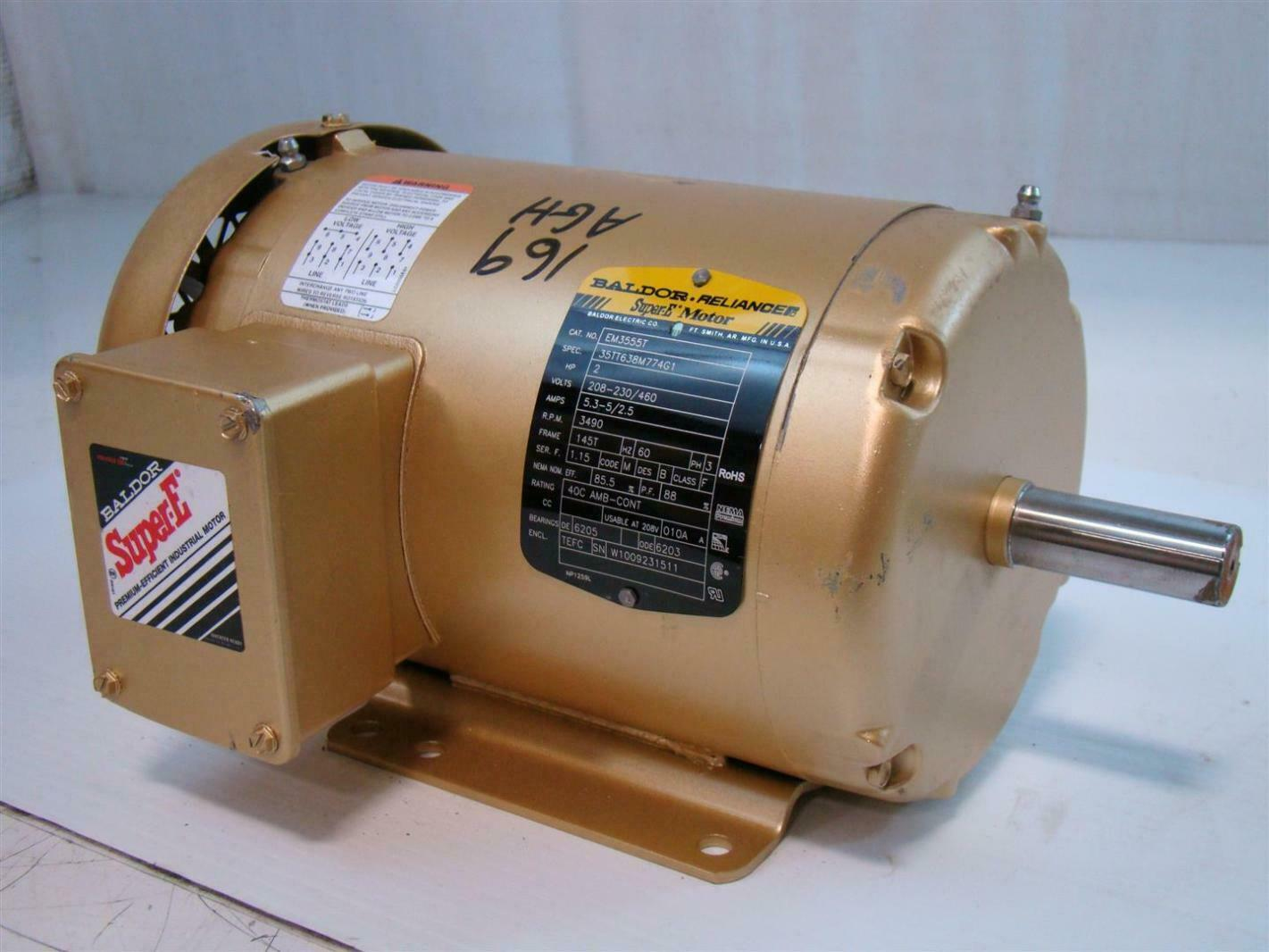 Baldor reliance super e motor 2hp 208 230 460v 5 3 5 2 for Baldor industrial motor parts