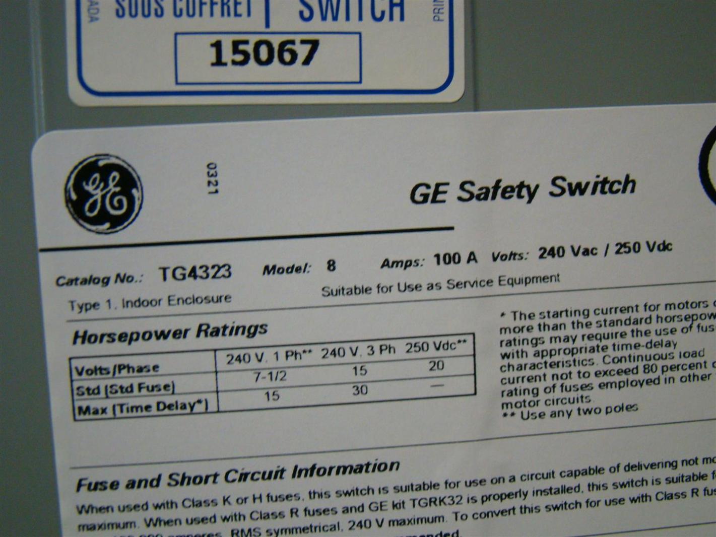 GE General Duty Safety Switch 100amp 240V ac 30HP Model 8 TG4323 | eBay