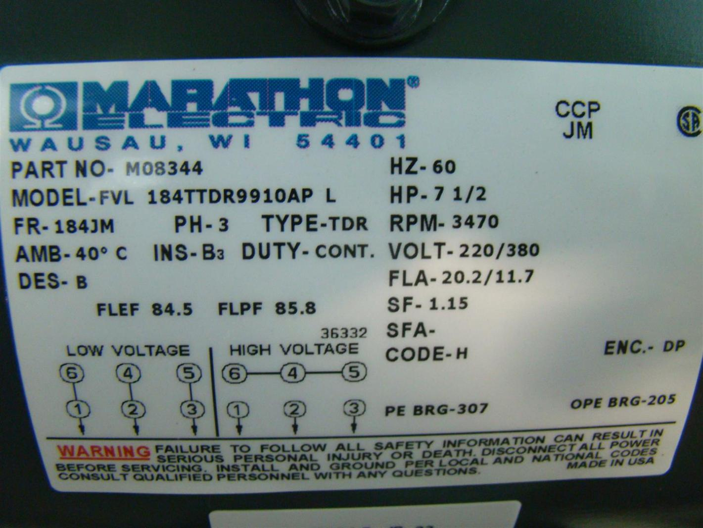 Wiring A Marathon Electric Motor To 220 - Trusted Wiring Diagram