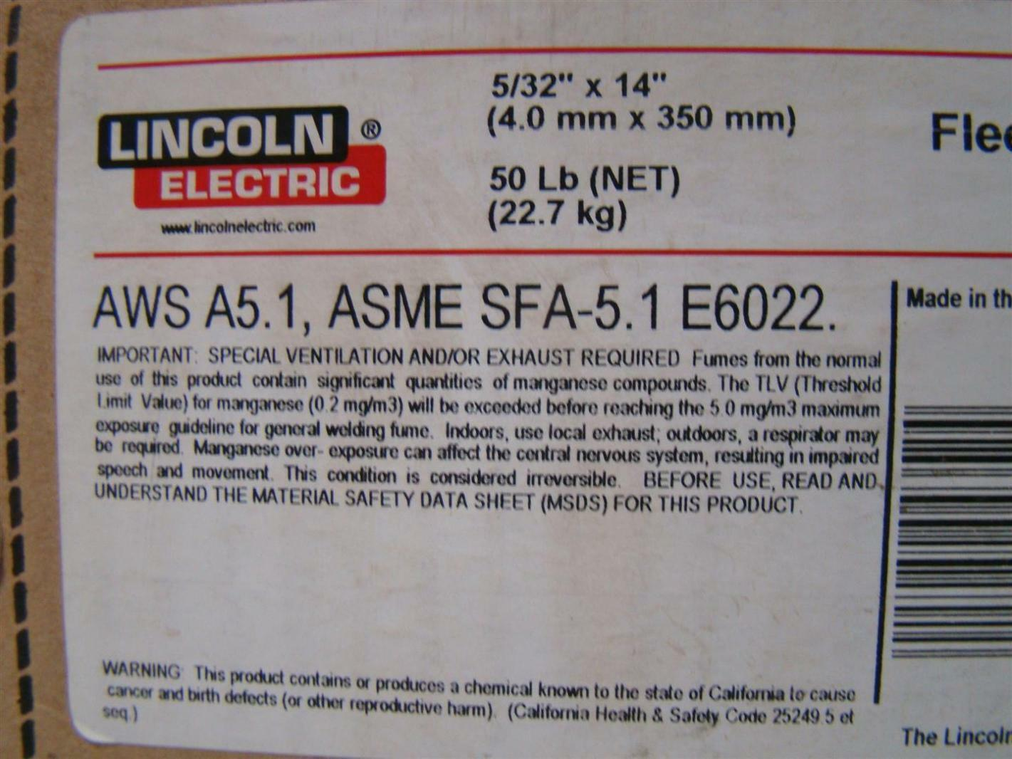 Lincoln Electric 5 32 Quot E6022 Fleetweld Welding Rod 50 Lbs