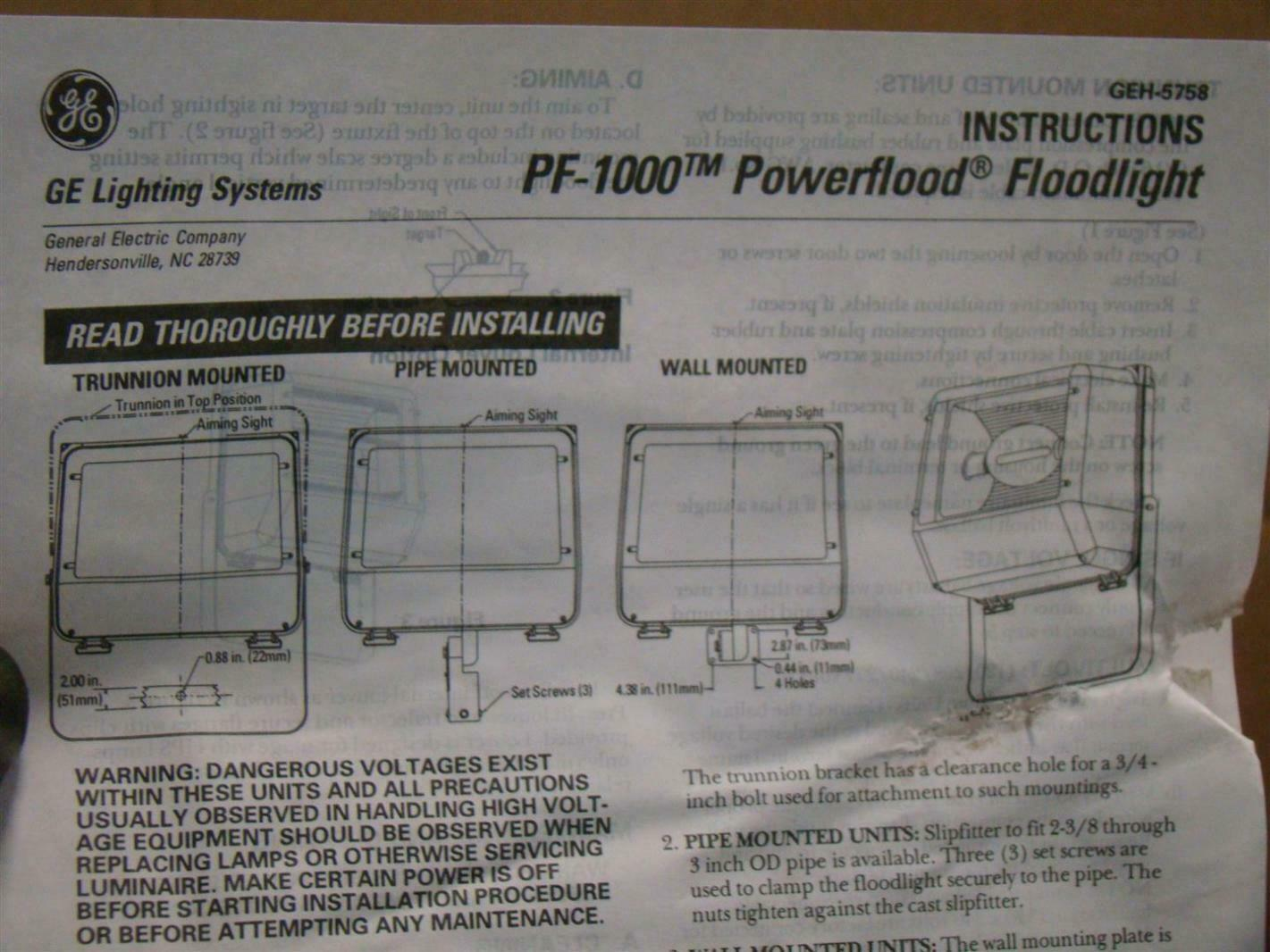 Ge lighting systems powerflood 1000w outdoor light hps 480v pf1000 ge lighting systems powerflood 1000w outdoor light hps 480v pf1000 aloadofball