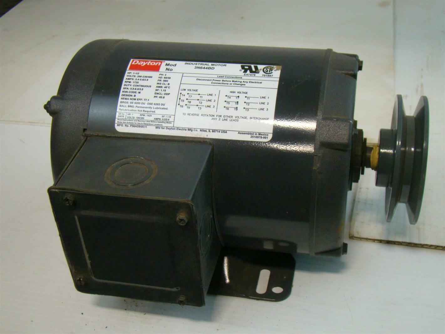 Dayton industrial motor 1 1 2 hp ph3 208 230 460v 5 4 5 6 for Dayton electric motors customer service