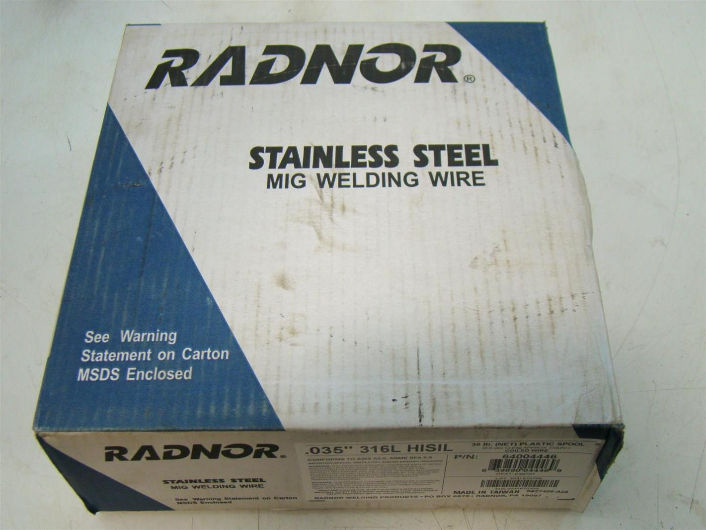 Radnor Stainless Steel Mig Welding Wire Plastic Spool Coiled Wire ...