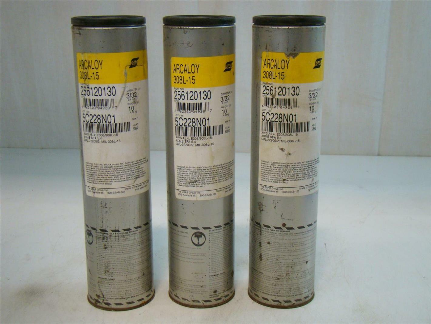 3) Esab Arcaloy 3/32in 308L-15 Welding Rod 256120130 662303049287 | eBay