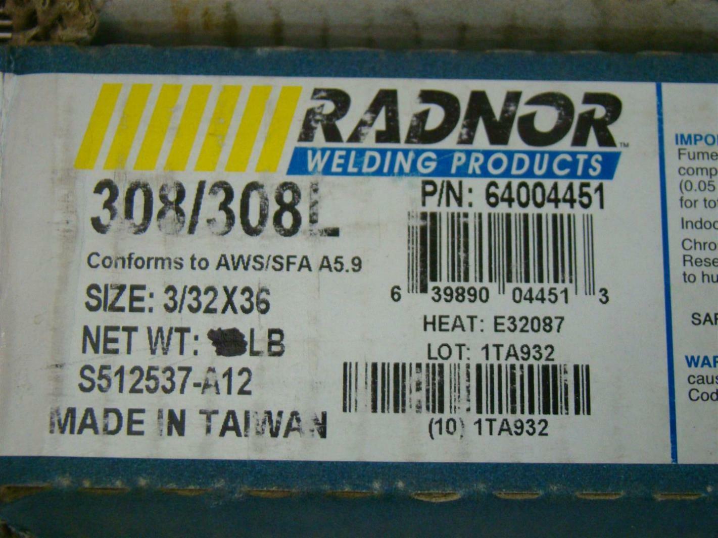 Radnor Welding Products 308/308L 3/32X36 TIG Rod S512537-A12 ...