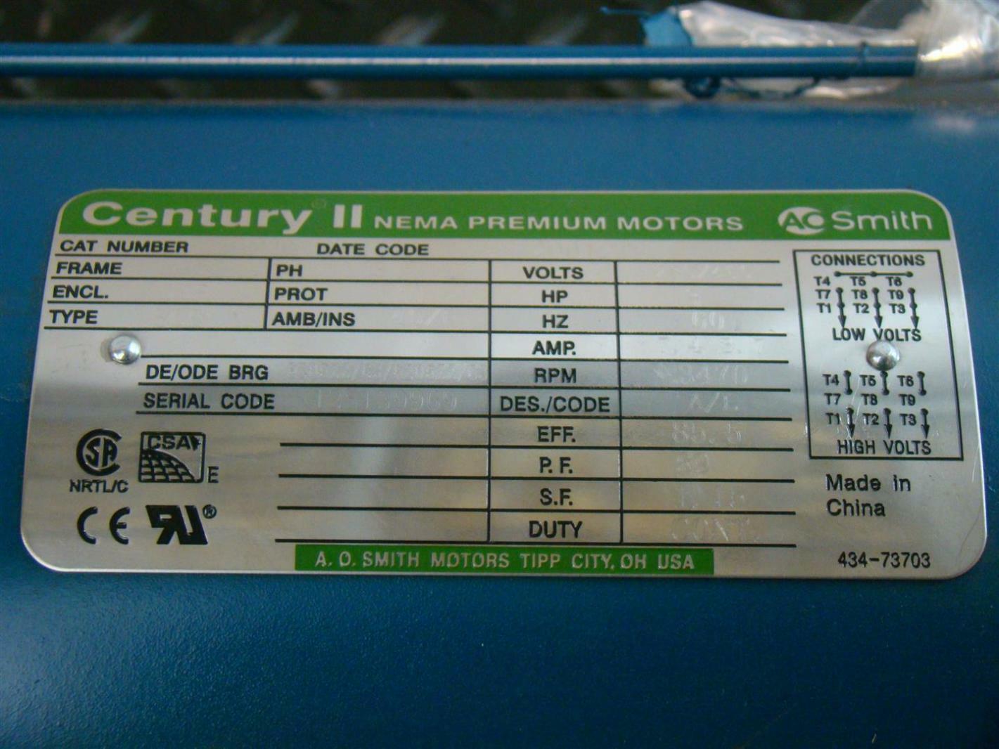 Century II AO Smith 3HP Electric Motor 230/460V 3-Phase 3470Rpm ...
