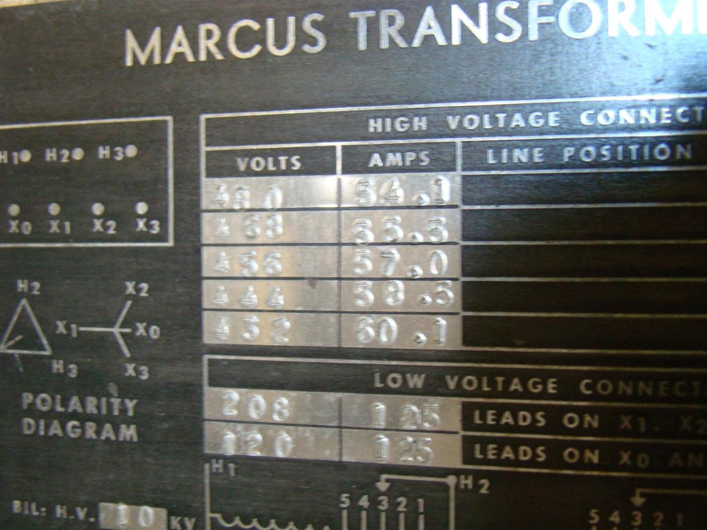 Marcus Transformer 45kva 480x208 120v 3 38979 Ebay 45 Kva Wiring Diagram