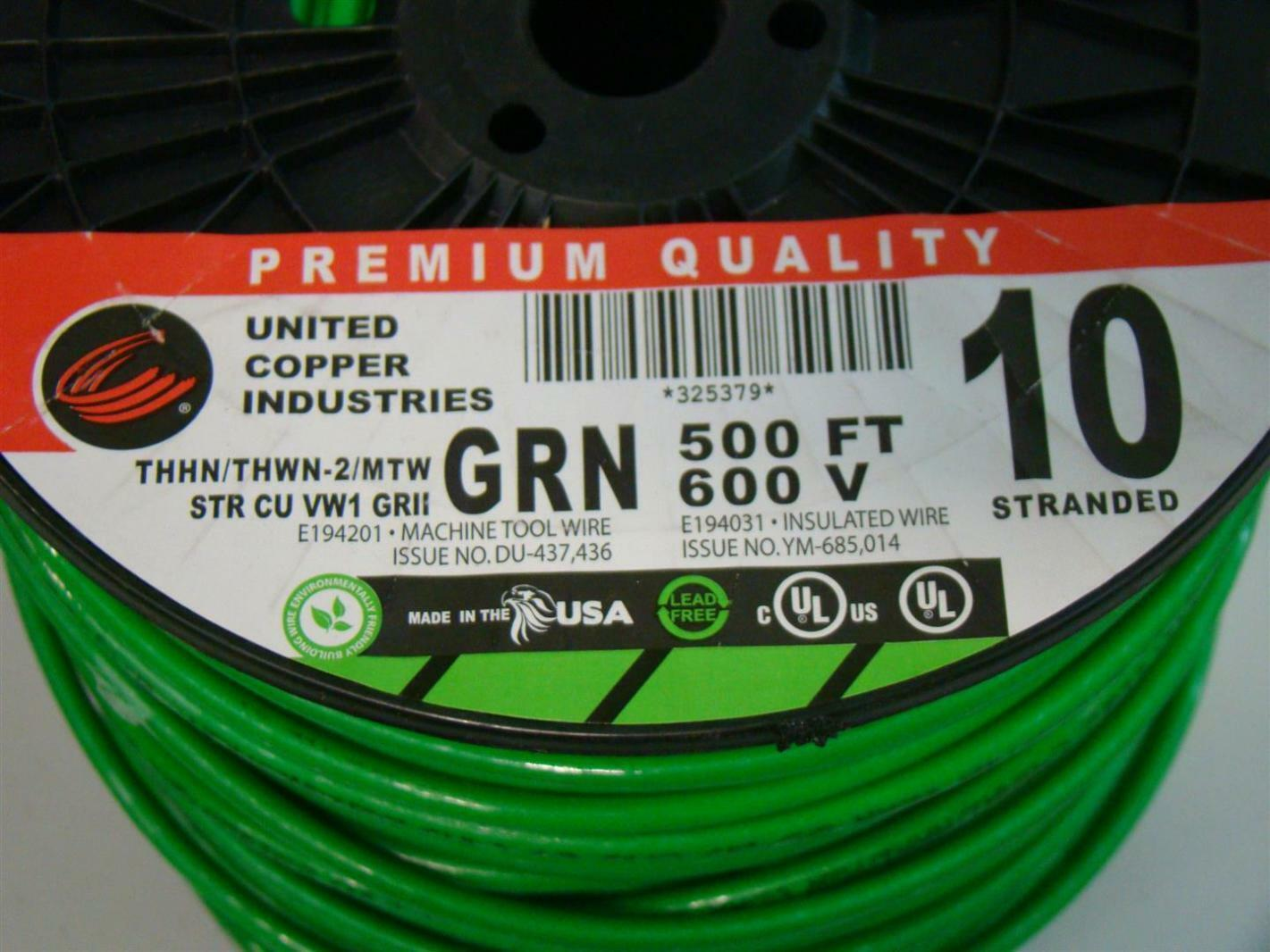 United Copper 500\' thhn #10 GRN 600V E194201 Machine Tool Wire | eBay