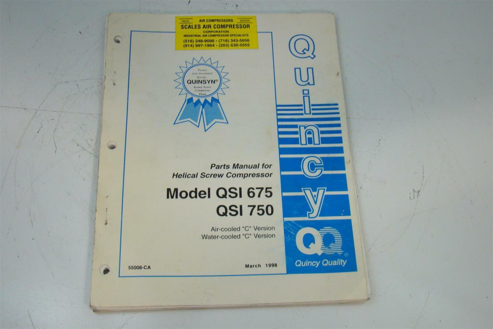 Quincy Parts Manual For Helical Screw Compressor Qsi 675 750 Air Wiring Diagram 55008 Ca