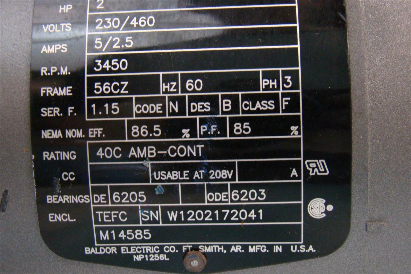 3 hp motor amps