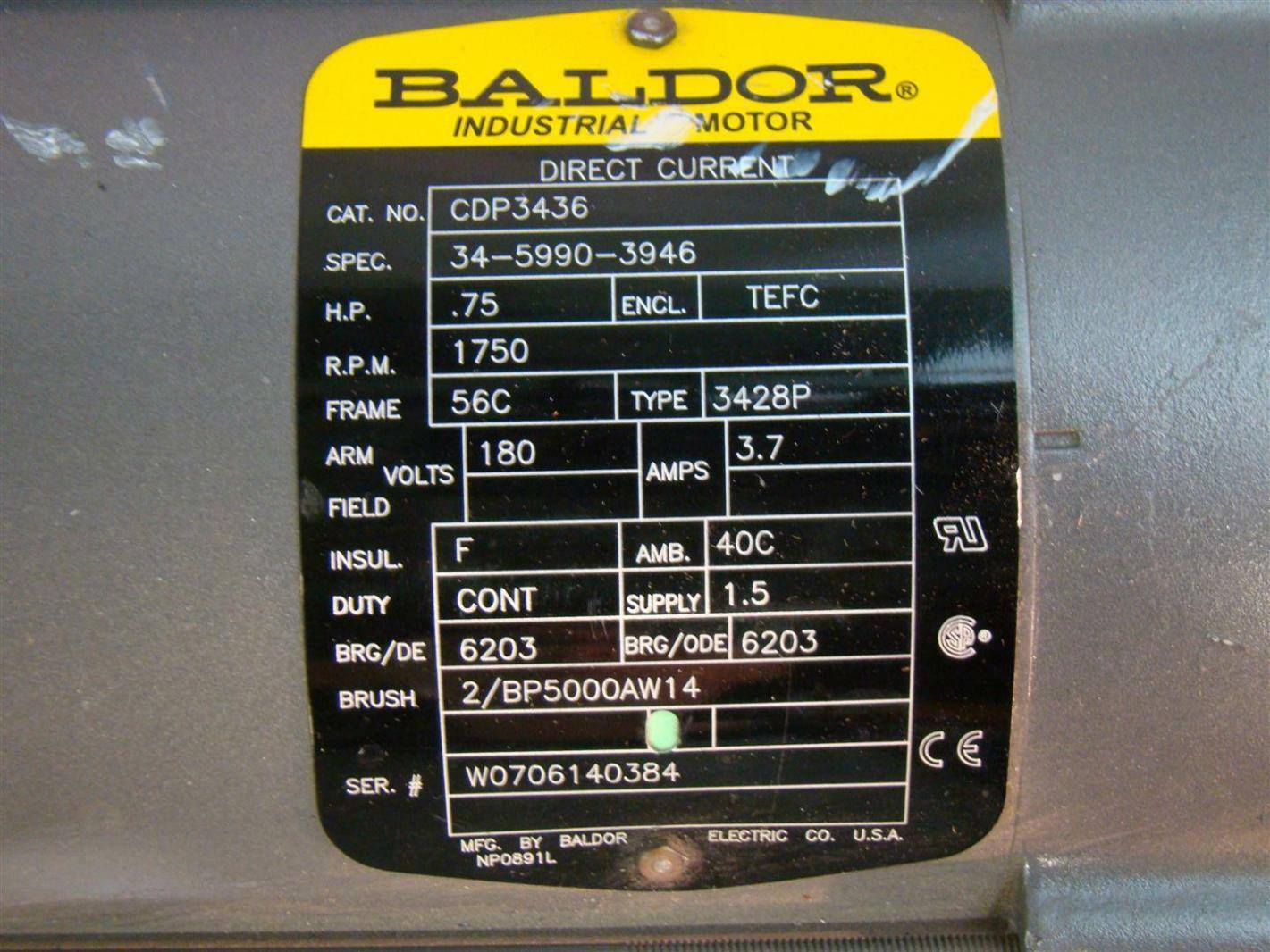 Baldor electric dc motor 75hp 1750rpm 180v cdp436 ebay for 180v dc motor suppliers