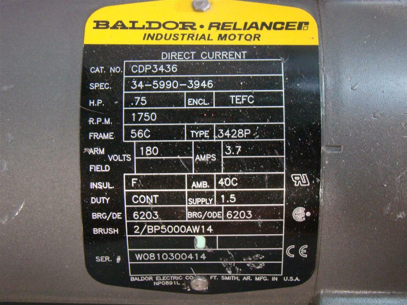 baldor reliancer dc electric motor .75hp 1750rpm 180v ... wire diagrams motor name plate 3 wire winch motor wiring diagram