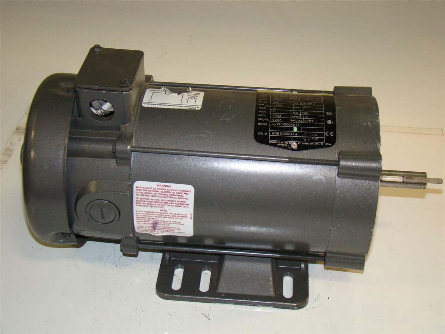 Baldor reliancer dc electric motor 75hp 1750rpm 180v for 180v dc motor suppliers