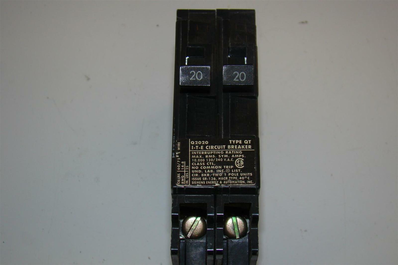 Siemens 2 20 Amp Tandem Single Pole Type QT NCL-Circuit Breaker