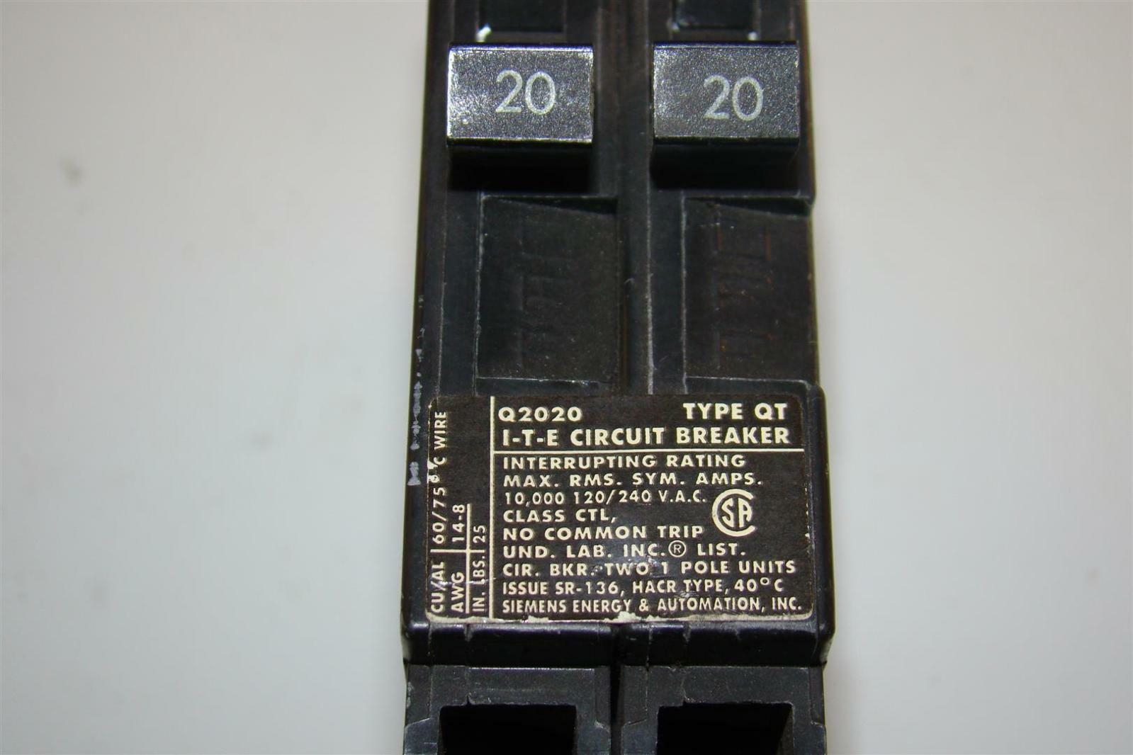 Siemens I T E Circuit Breaker Q2020 Type Qt 20 Amp 2 1