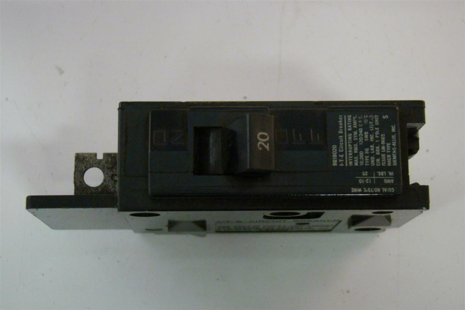 (2)SIEMENS ITE BQ1B020 20 Amp 1 Pole EQ-B Breaker BQ1B020