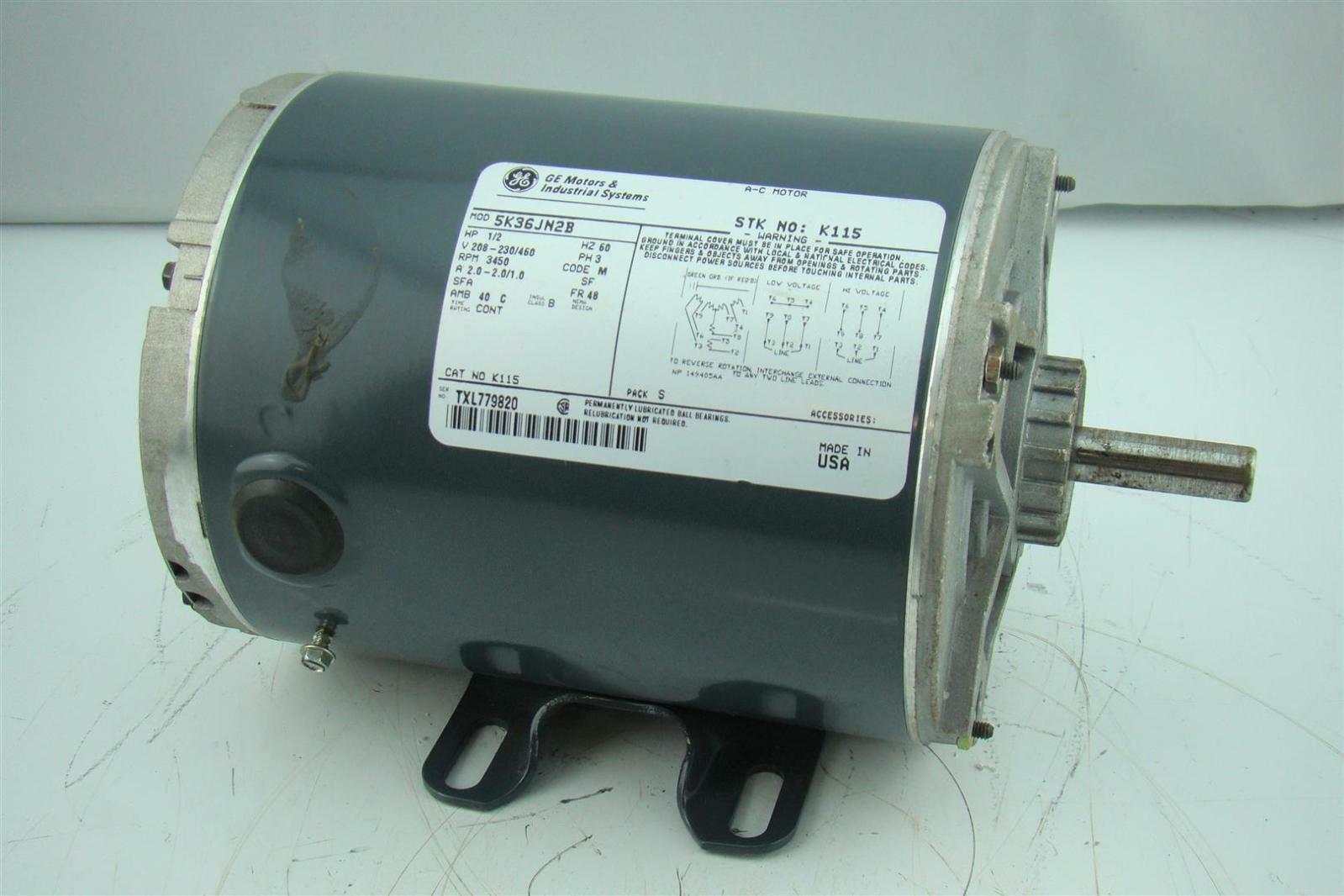GE MOTOR , HP, 3450 RPM, 3 PHASE, 230/460 VAC 5K38PN2A   eBay