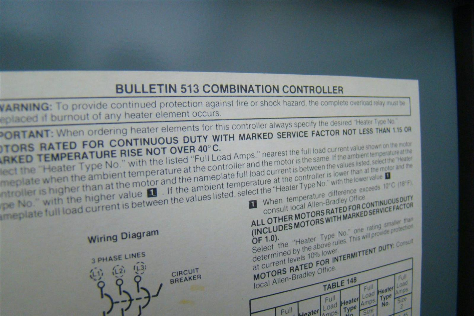 Allen Bradley Bulletin 513 Combination Starter Size 0 W Circuit Motor Controller Wiring Diagram Breaker