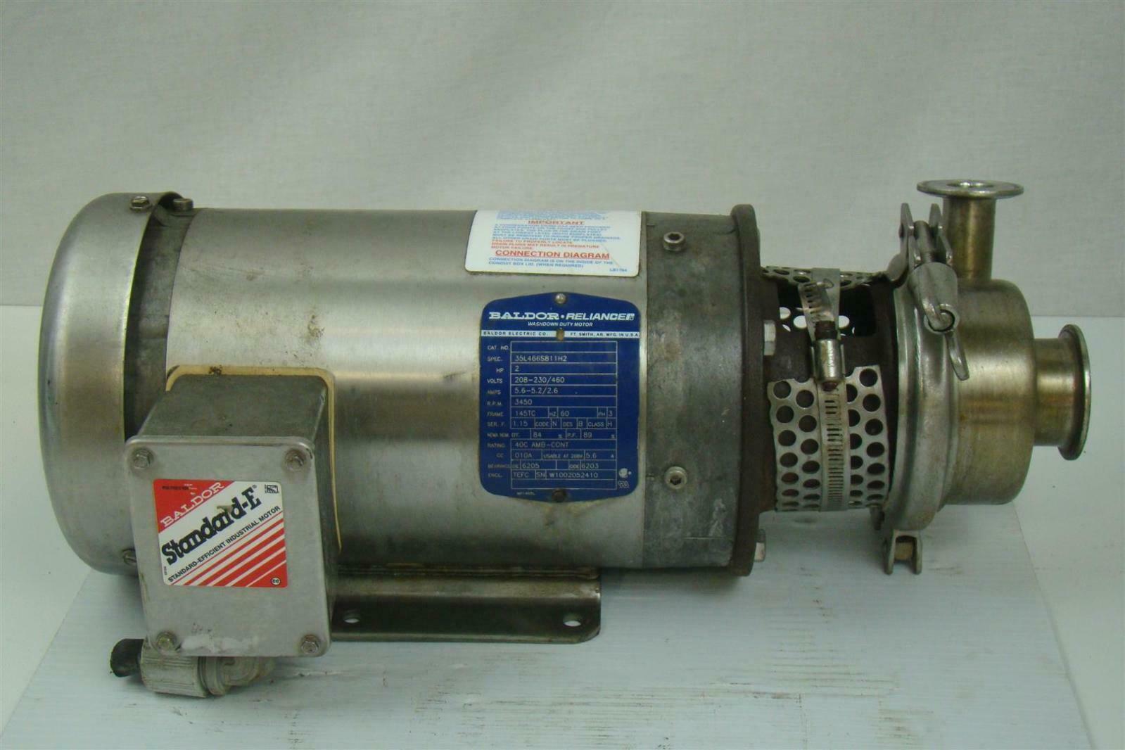 Stainless Centrifugal Pump Sanitary Tri Clamp Baldor 2hp 3ph 3 Ph Wiring Diagram Swdm3554t