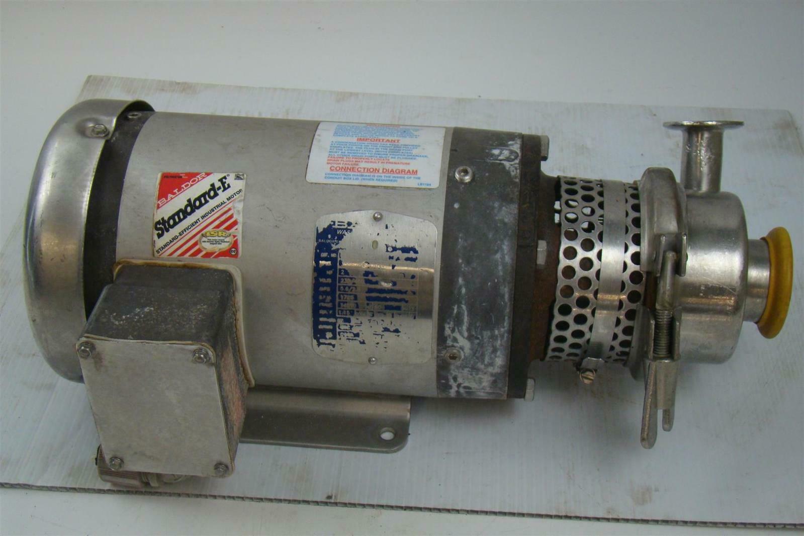 Stainless Centrifugal Pump Sanitary Tri Clamp Baldor 2hp 3ph 3 Ph Wiring Diagram Cswdm3558t