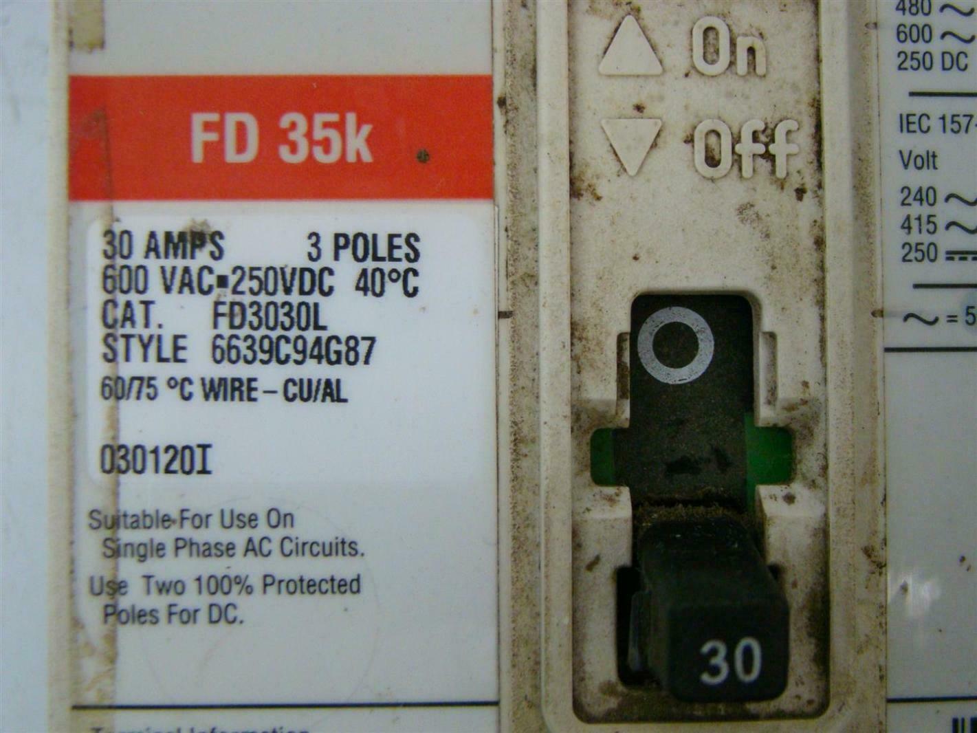 CUTLER-HAMMER CIRCUIT BREAKER FD-35K 3 POLE 30 AMPS | eBay