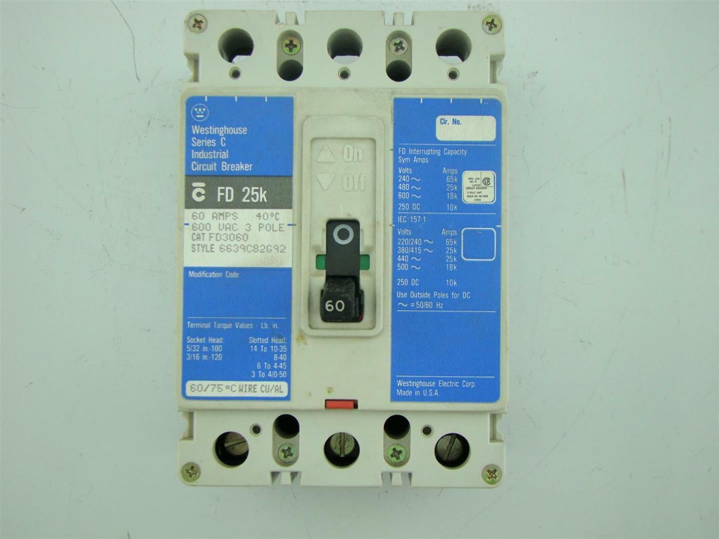 Cutler Hammer Circuit Breaker Fd 25k 3 Pole 100 Amps Ebay Amp Main Panel