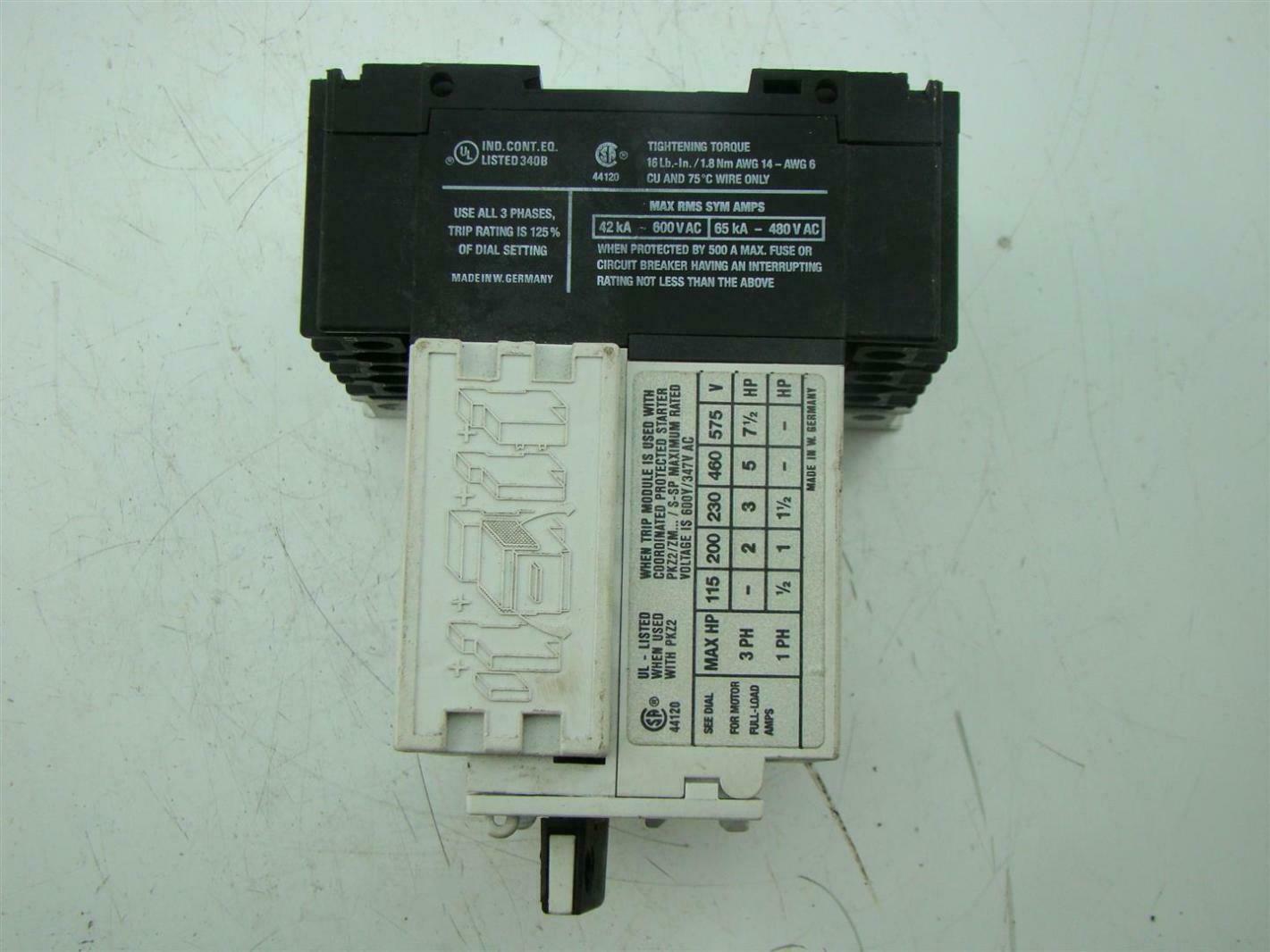 MOELLER PKZ2 3 PHASE 42KA- 600V AC 65 KA - 480 V AC   eBay