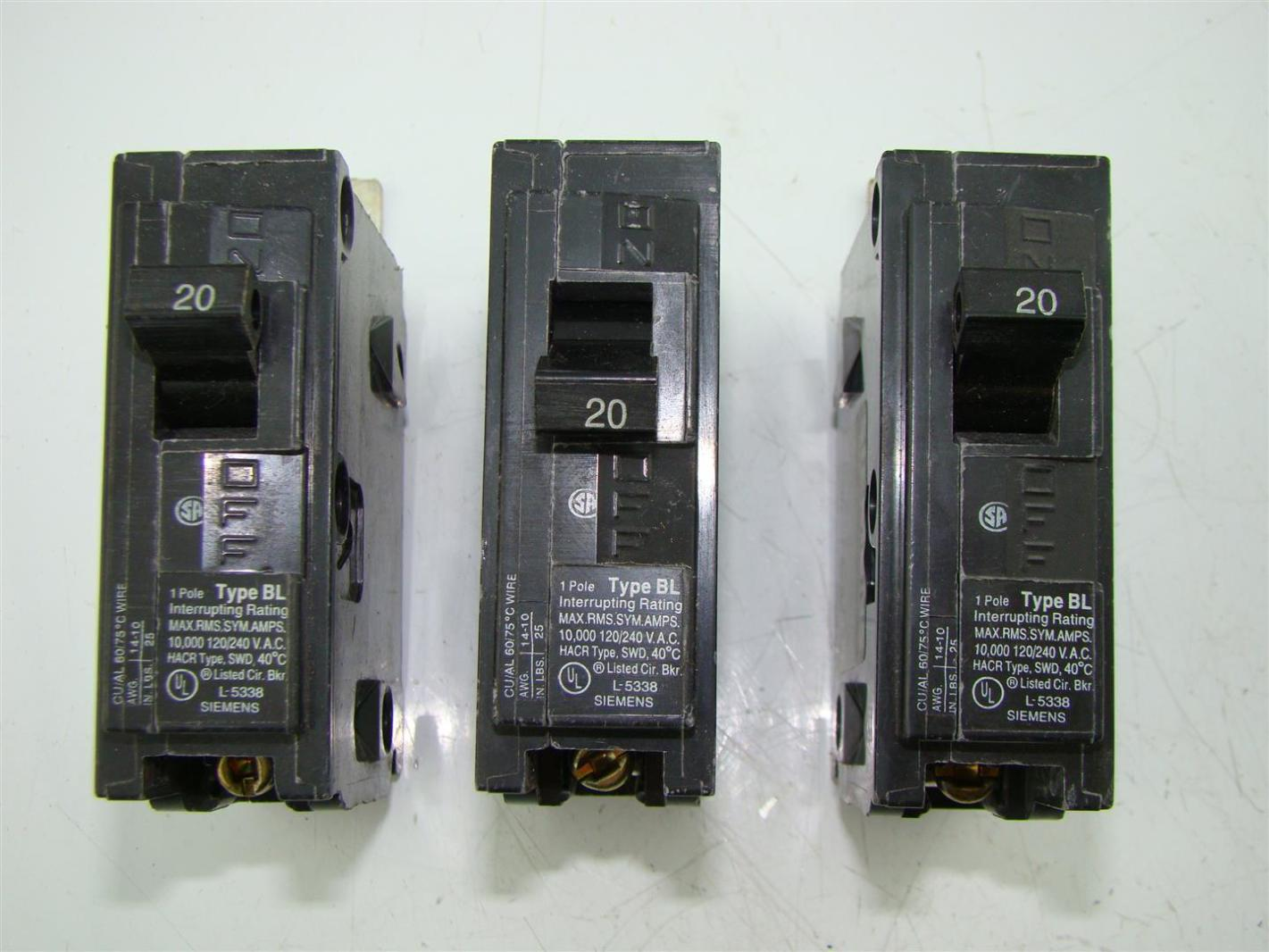 Siemens B120 120//240Volt Circuit Breaker Type BL 1 pole 20 amp